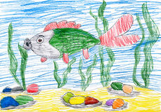 Fish underwater. child drawing. Fish under water. childs drawing Stock Photo