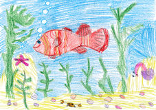 Fish underwater. child drawing. On paper Royalty Free Stock Photo