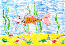 Fish underwater, child sketch drawing Royalty Free Stock Images