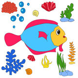 Fish underwater world book coloring. Isolated Royalty Free Stock Image