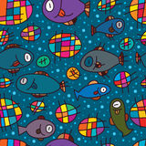 Fish unknwon feel seamless pattern. This illustration is abstract drawing like that, the fish and bubble look weird, dont know what feeling of fish and bubble Royalty Free Stock Photos