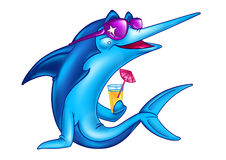 Fish on vacation cartoon. Fish blue on vacation drinking orange juice cartoon Royalty Free Stock Photo