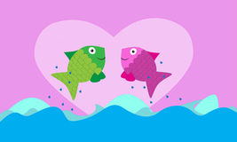 Fish valentine background. With heart and water Royalty Free Stock Photos