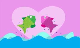 Fish valentine background Royalty Free Stock Photos