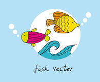 Fish vector. Cute fish over blue background. vector illustration Royalty Free Stock Photo