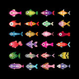 Fish vector colorful icons. Exotic aquarium fishes - set of colorful vector icons. Isolated on black background Royalty Free Stock Images