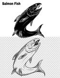 Fish vector by hand drawing. Salmon fish art highly detailed in line art style.Fish vector by hand drawing.Fish tattoo on white background Royalty Free Stock Photos