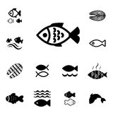 Fish Vector Icon Isolated. Set of Fish Vector Icon Isolated. Fishing or Seafood Template for Logo Design Stock Photography