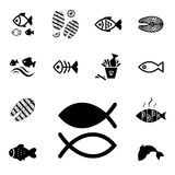 Fish Vector Icon Isolated. Set of Fish Vector Icon Isolated. Fishing or Seafood Template for Logo Design Stock Images