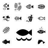 Fish Vector Icon Isolated. Set of Fish Vector Icon Isolated. Fishing or Seafood Template for Logo Design Royalty Free Stock Photo