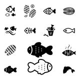 Fish Vector Icon Isolated. Set of Fish Vector Icon Isolated. Fishing or Seafood Template for Logo Design Royalty Free Stock Photography
