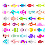 Fish vector icon set. Aquarium Fishes - set of vector icons.  on white background Royalty Free Stock Photo