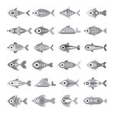 Fish vector icon set. Fish grayscale vector icon set. Isolated on white background. Multiple design elements Stock Photo