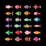 Fish vector icons on black Royalty Free Stock Photography