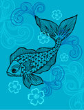 Fish Vector Illustration. Eps with Scrolls on Blue Background Royalty Free Stock Photos