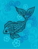 Fish Vector Illustration. Eps with Scrolls on Blue Background stock illustration