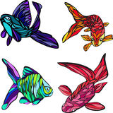 4 fish. Vector, illustration, drawing, set four color fish Royalty Free Stock Photo