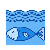 Fish line icon. Fish vector line icon isolated on white background. Fish line icon for infographic, website or app. Blue icon designed on a grid system Royalty Free Stock Photo