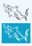 Fish vector. Shark art tattoo design, good for your tattoo, sticker, t-shirt or etc....easy to use Stock Photography