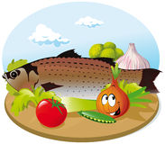 Fish with vegetable. On wooden cutting board Stock Photo