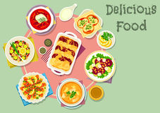 Fish and vegetable dishes for lunch icon Royalty Free Stock Photo