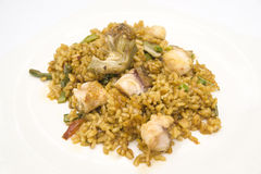 Fish and vegetable paella. Typical from valencia Royalty Free Stock Image