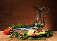 Fish and vegetables Stock Photos