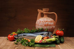 Fish and vegetables Royalty Free Stock Images