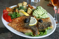 Fish with vegetables. royalty free stock photography