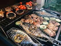 Fish And Vegetables Barbecue Royalty Free Stock Photography