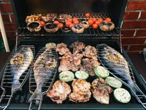 Fish And Vegetables Barbecue Stock Photography