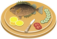 Fish and vegetables on a board. Vector cooked fish and raw vegetables on a board Royalty Free Stock Photography
