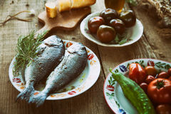 Fish and vegetables Stock Image