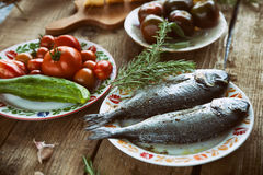 Fish and vegetables Royalty Free Stock Photos