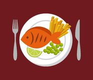 Fish and vegetables icon. Plate with fish with french fries and vegetables icon over red background. colorful design.  illustration Stock Photos