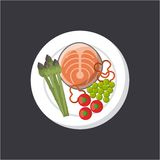Fish and vegetables icon. Plate with steak of fish with vegetables icon over gray background. colorful design.  illustration Stock Photos