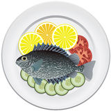 Fish and vegetables on a plate Stock Image