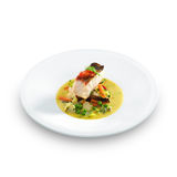 Fish an vegetables on plate Royalty Free Stock Photography