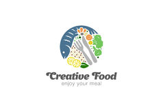 Fish and Vegetables on Plate Logo.  Circle Diet Food Logotype Royalty Free Stock Photo