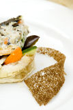 Fish with vegetables, rice and potatoes, bread Royalty Free Stock Image