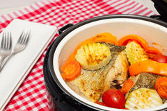 Fish  with vegetables steam cooking. Pieces of boiled fish and vegetables in a double boiler. Red checkered tablecloth Royalty Free Stock Image