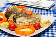 Fish  with vegetables steam cooking. Pieces of boiled fish and vegetables on a plate. Blue checkered tablecloth Stock Image