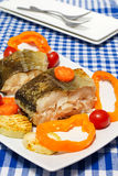 Fish  with vegetables steam cooking. Pieces of boiled fish and vegetables on a plate. Blue checkered tablecloth Stock Images