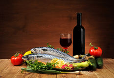 Fish with vegetables and wine Royalty Free Stock Image