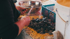 Fish Vendor Scaling and Cutting Mussels in Market Stall stock video