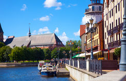 Fish village Rybnaya derevnya and Pregola river in the Kaliningrad, Russia. Royalty Free Stock Photo