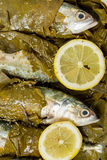 Fish in vine leaves Royalty Free Stock Photos