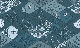 Fish and seaweed. Rhombuses. Seamless pattern in doodle style. Fish and seaweed. Rhombuses. Seamless pattern. Vector hand drawn doodle cartoon Stock Images
