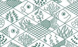 Fish and seaweed. Rhombuses. Seamless pattern in doodle style. Fish and seaweed. Rhombuses. Seamless pattern. Vector hand drawn doodle cartoon Royalty Free Stock Photo