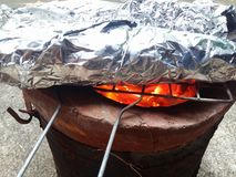 The fish was grilled in foil Stock Photo